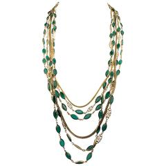 Multi-Strand Gold-Toned and Green Paste Necklace - 1940s/1950s