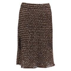 CHANEL dark brown wool & mohair A-Line Skirt 38 S