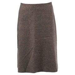 CHANEL grey wool blend LUREX HIGH WAISTED A-LINE Skirt S