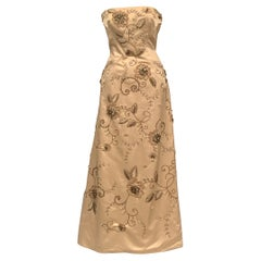 Maggie Norris Couture Beaded and Embroidered Champagne Satin Gown with a Train