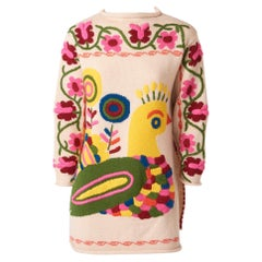 Moschino Whimsical Wool Knit Embroidered Tunic