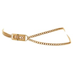 Chanel Gold COCO Plaque Chain Belt Necklace