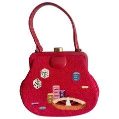 Gambling Theme Diminutive Red Needlepoint and Leather Handbag