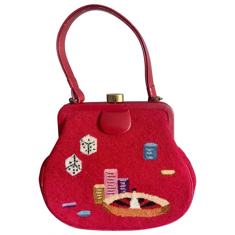 Gambling Theme Diminutive Red Needlepoint and Leather Handbag For Sale