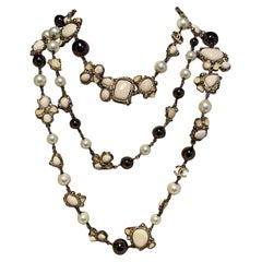 Chanel Vintage Enamel and Pearl Necklace