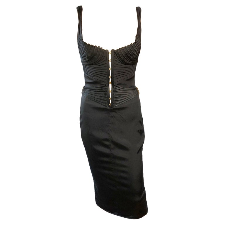 Tom Ford for Gucci F/W 2003 Runway Bustier Corset Silk Black Dress For Sale