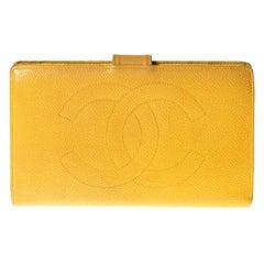Chanel Caviar CC Mustard Yellow Compact Snap Wallet