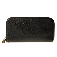 Chanel CC Caviar Leather Zip Around Wallet 2003