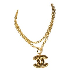 Chanel CC Quilted Logo Pendant Necklace