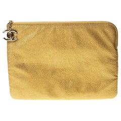 Chanel Gold Caviar Leather Medium O Case Clutch (Circa 2008)