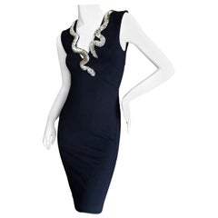 Roberto Cavalli Vintage Black Bodycon Dress w Crystal Embellished Snake Collar