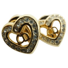 Dior Crystal Heart CD Rhinestone Gold Tone Clip On Earrings