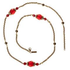Escada Gold Chain Bijou Gripoix Glass Long Necklace
