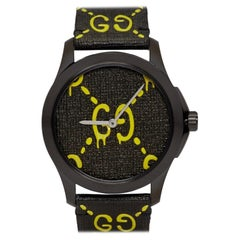 """Gucci Black & Yellow G-Timeless """"Gucci Ghost"""" Watch"""