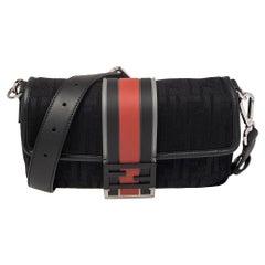 Fendi Black Perforated Neoprene Fabric Convertible Baguette Belt Bag