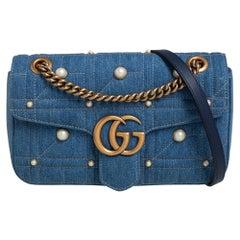 Gucci Blue Matelasse Denim Small Pearl Embellished GG Marmont Shoulder Bag