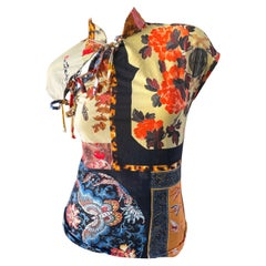 Roberto Cavalli Spring 2003 Silk Cheongsam Style Floral Butterfly Top Size XS