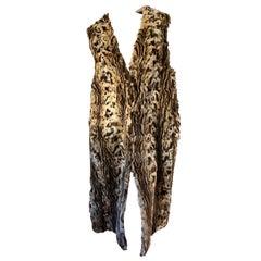 Roberto Cavalli Luxe Vintage Leopard Pattern Fur Vest with Animal Print Lining