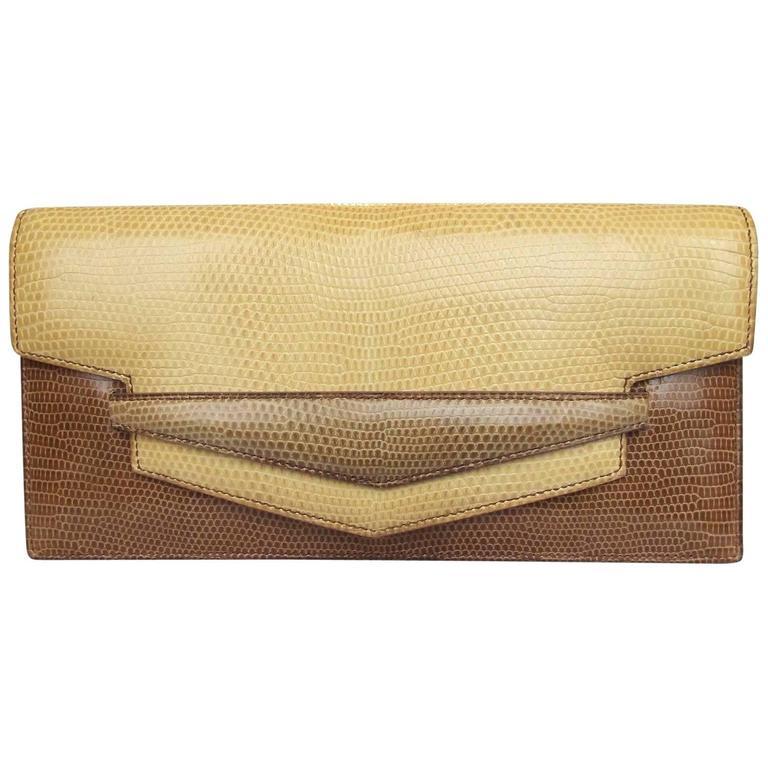 Hermes Faco Elan Clutch Purse Handbag Tri Color Lizard Skin + Mirror RARE 1
