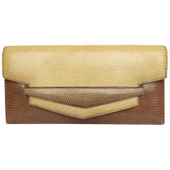 Hermes Faco Elan Clutch Purse Handbag Tri Color Lizard Skin + Mirror RARE