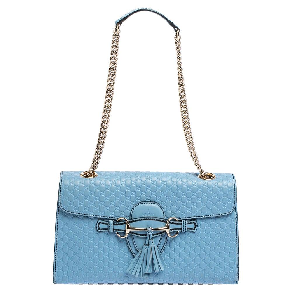 Gucci Blue Guccissima Leather Medium Emily Shoulder Bag