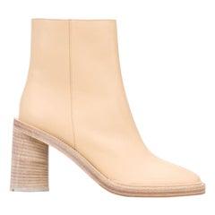 Acne Studios Beige Leather Block Heel Boots (38 EU)