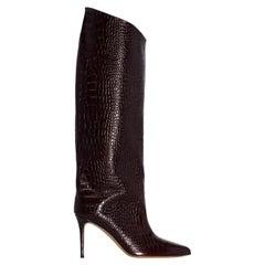 Alexandre Vauthier (Alex 90) Brown Crocodile-Embossed Leather Boots (40 EU)