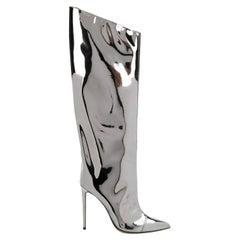 Alexandre Vauthier Alex Mirror Metallic Knee High Boots (37.5 EU)