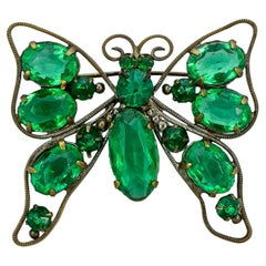 Art Deco Gold Plated Butterfly Brooch with Emerald Green Paste Stones