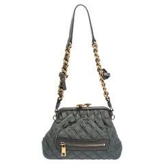 Marc Jacobs Dark Grey Quilted Fabric Little Stam Shoulder Bag