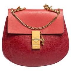 Chloe Red 2 Tone Leather Medium Drew Shoulder Bag