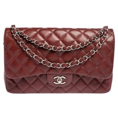 Chanel Red Quilted Caviar Leather Jumbo Classic Double Flap Bag