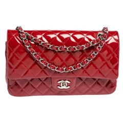 Chanel Red Quilted Patent Leather Medium Classic Double Flap Bag