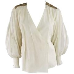 OSCAR DE LA RENTA 8 Beige Linen Sequin Shoulder Bishop Sleeve Wrap Blouse