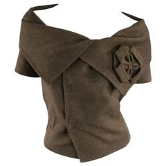 OSCAR DE LA RENTA Size 8 Brown Wool / Angora Off Shoulder Collar Dress Top 2008