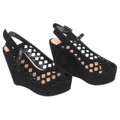 Robert Clergerie Black Suede Cut Out Platform Sling Back Platform Shoes