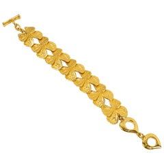 Yves Saint Laurent Gilt Metal Butterfly Link Bracelet