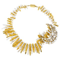 Ugo Correani White and Gilded Faux-Coral Necklace with Jeweled Pendant