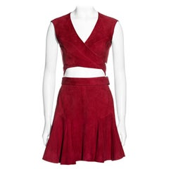 Azzedine Alaia red suede wrap top and mini skirt set, c. 1990
