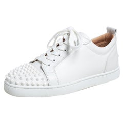 Christian Louboutin White Leather Louis Junior Studded Sneakers Size 39.5