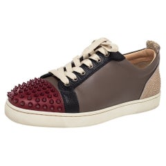 Christian Louboutin Multicolor Leather Spiked Louis Junior Low Top Sneakers Size
