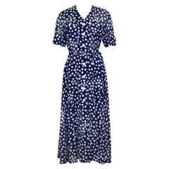 2000's Akris Navy Blue and White Floral Shirt Dress