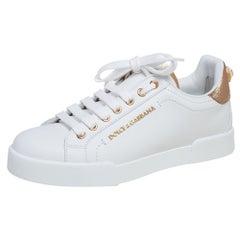 Dolce & Gabbana White Leather Portofino Sneakers Size 37.5
