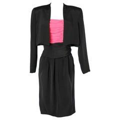 Pink and black cocktail dress ensemble C.D de Christian Dior