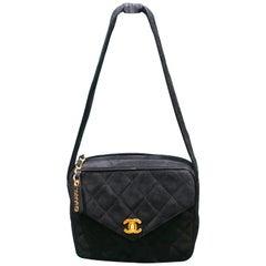 Vintage 90s Chanel Black Quilted Suede Handle Handbag