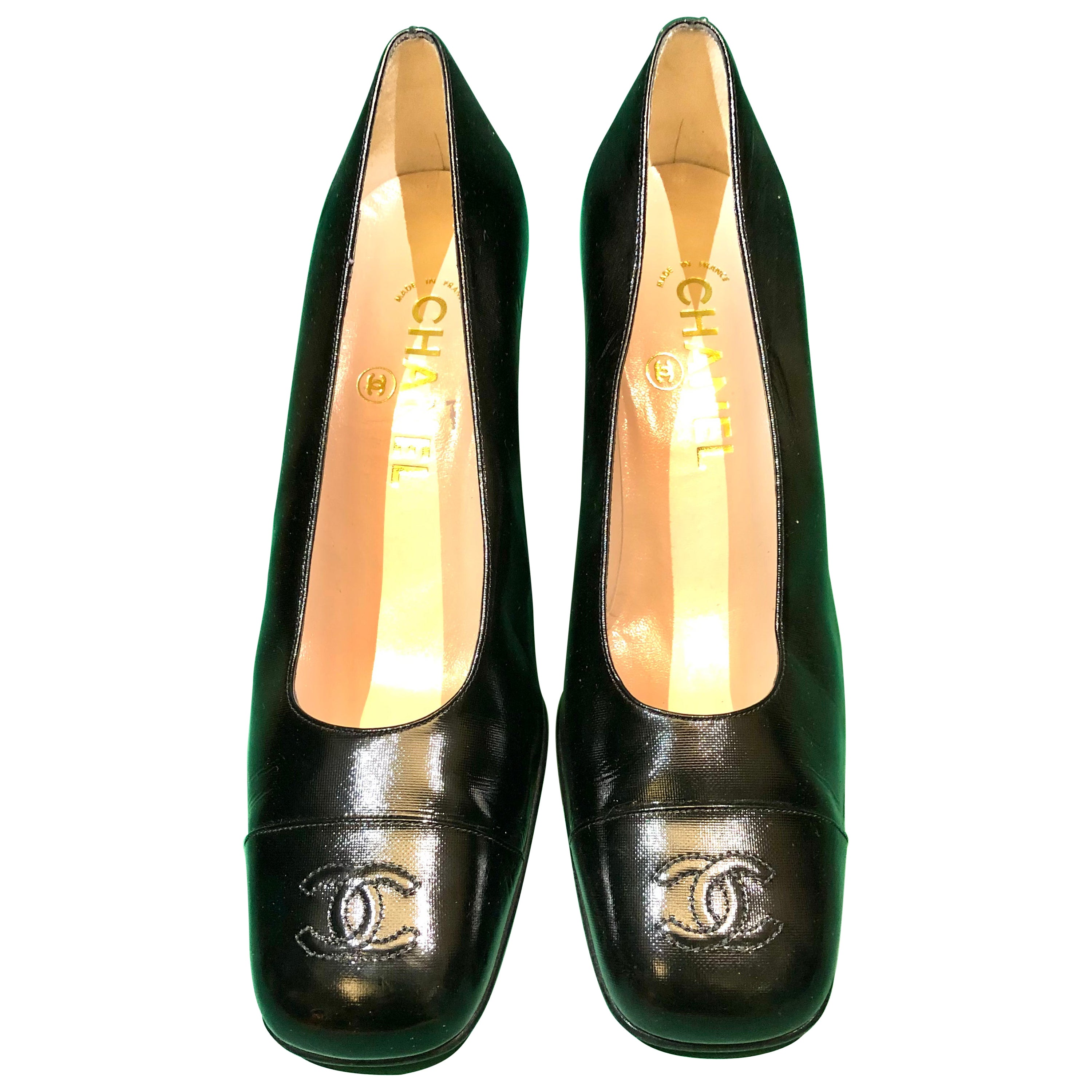 Vintage 90d Chanel Patent Leather Square Toe Mary Jane Heels Pumps