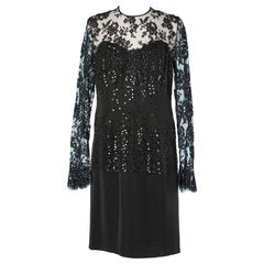 Black evening dress with sequins and lace Hanae Mori