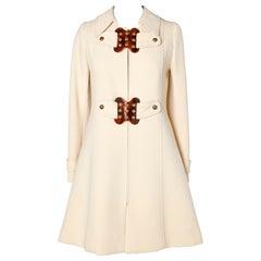 60's Off-white coat in dry wool Martine Garber