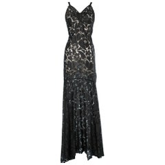 Long evening gown in black see-through lace 1930