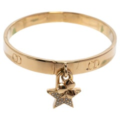 Dior Lucky Locket Gold Tone Cuff Bracelet